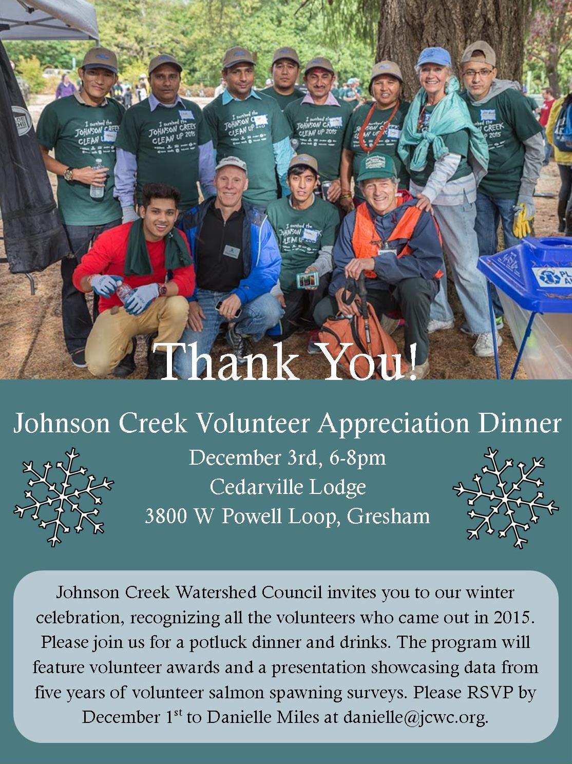 Volunteer Appreciation Dinner Johnson Creek Watershed Council